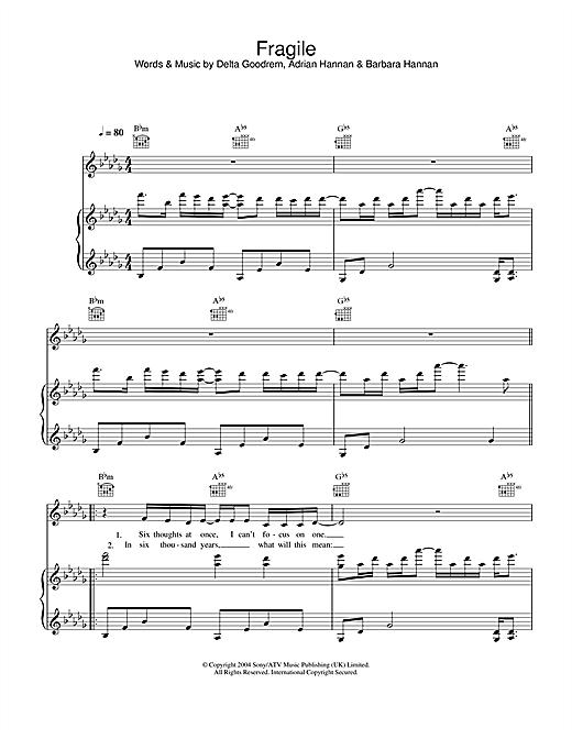 Delta Goodrem Fragile sheet music notes and chords. Download Printable PDF.