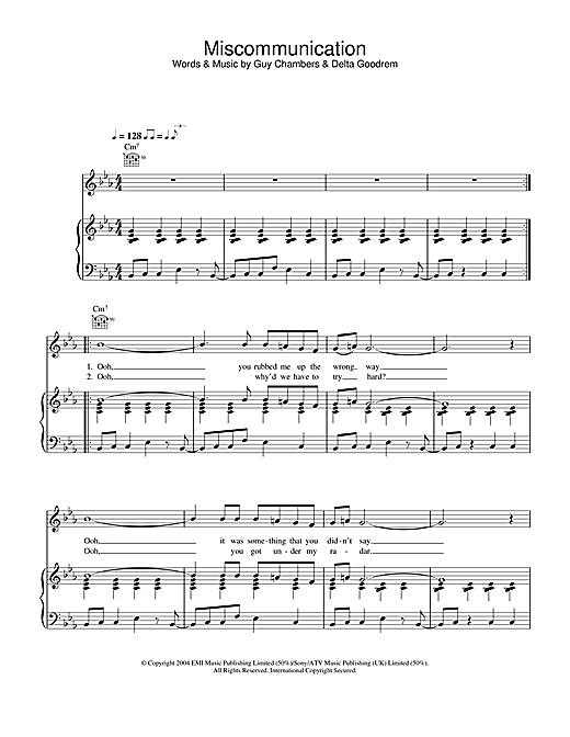 Delta Goodrem Miscommunication sheet music notes and chords. Download Printable PDF.