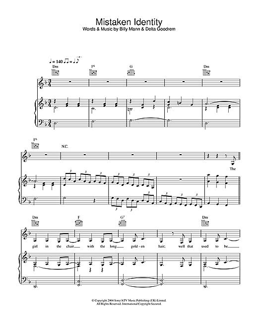 Delta Goodrem Mistaken Identity sheet music notes and chords. Download Printable PDF.