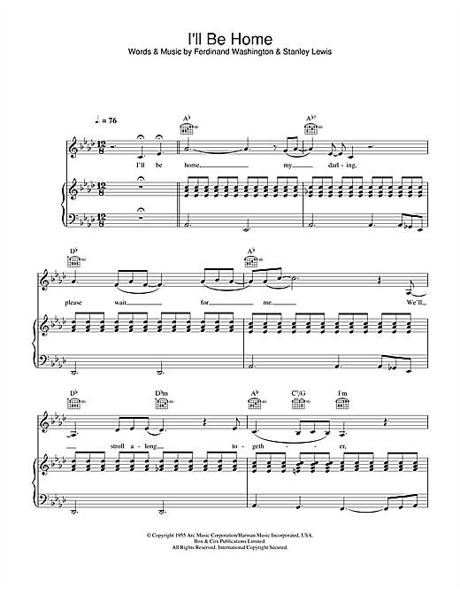 Pat Boone I'll Be Home sheet music notes and chords. Download Printable PDF.