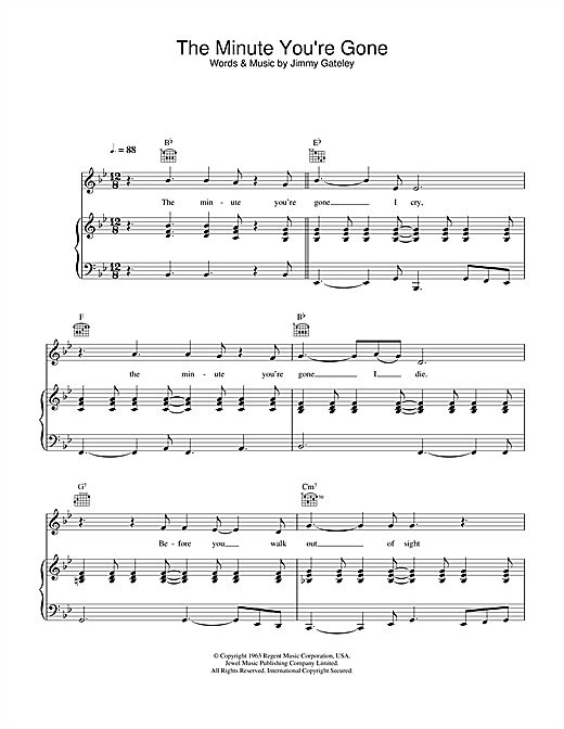 Cliff Richard The Minute You're Gone sheet music notes and chords. Download Printable PDF.