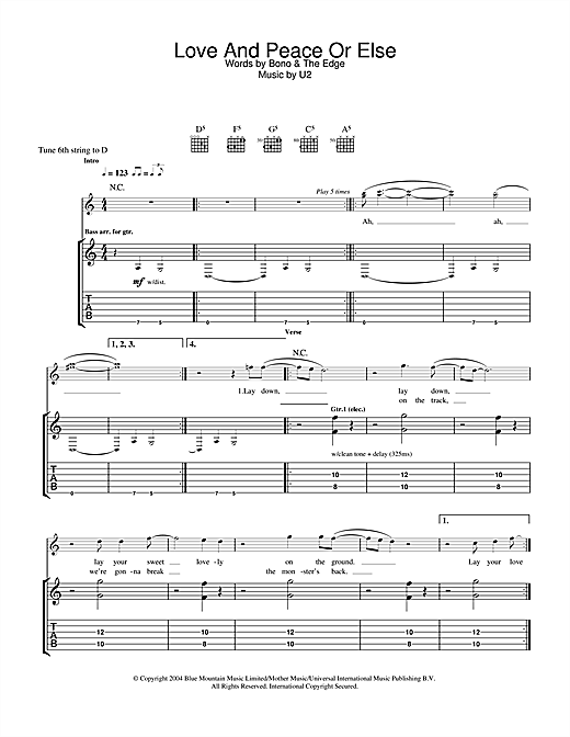 U2 Love And Peace Or Else sheet music notes and chords. Download Printable PDF.