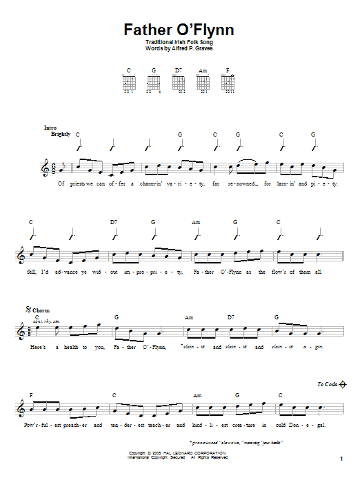 Alfred P. Graves Father O'Flynn sheet music notes and chords. Download Printable PDF.