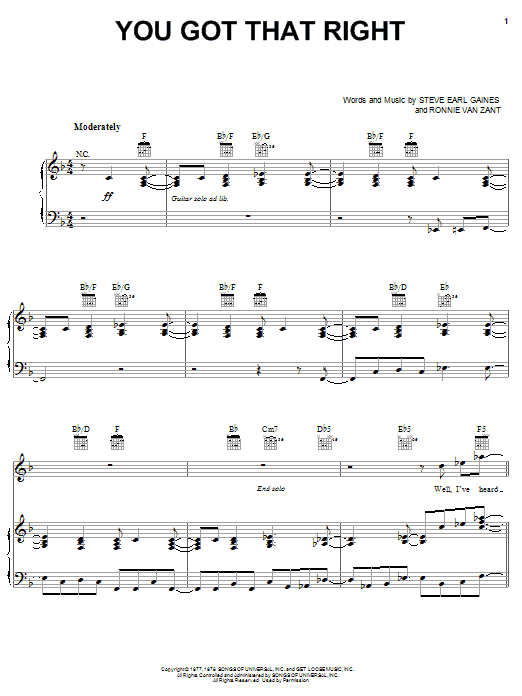 Lynyrd Skynyrd You Got That Right sheet music notes and chords. Download Printable PDF.