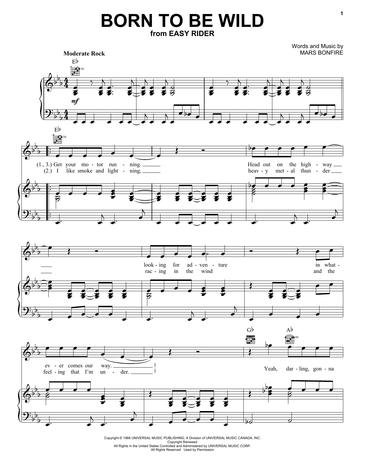 Steppenwolf Born To Be Wild sheet music notes and chords. Download Printable PDF.