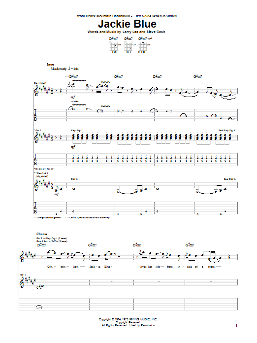 Ozark Mountain Daredevils Jackie Blue sheet music notes and chords. Download Printable PDF.