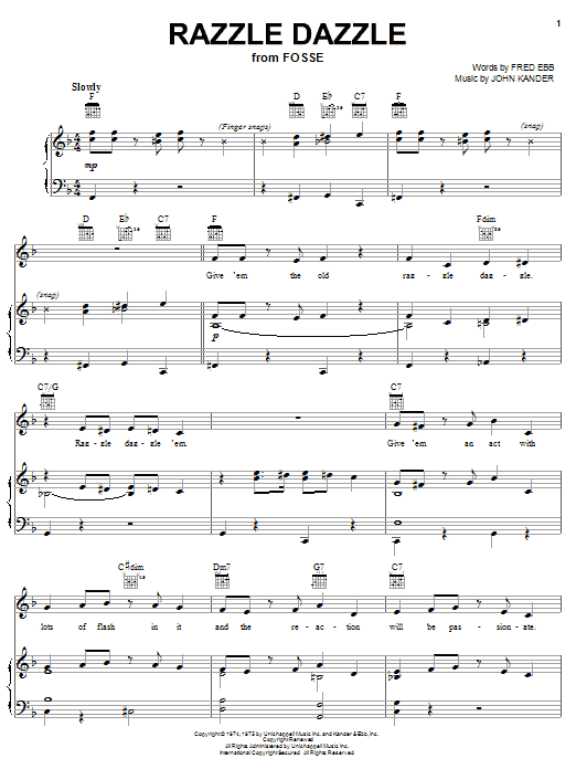 Kander & Ebb Razzle Dazzle sheet music notes and chords. Download Printable PDF.