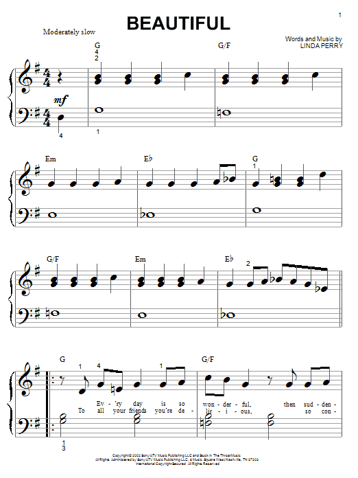 Christina Aguilera Beautiful sheet music notes and chords. Download Printable PDF.