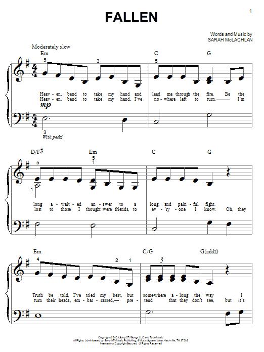 Sarah McLachlan Fallen sheet music notes and chords. Download Printable PDF.