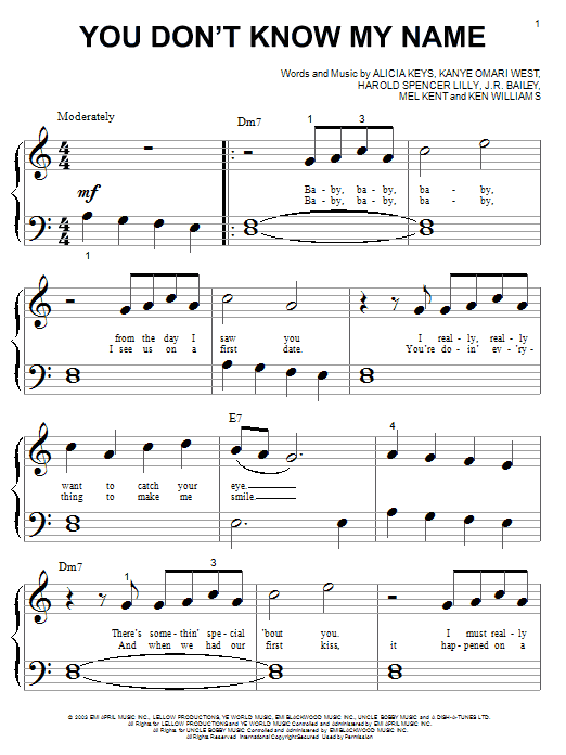 Alicia Keys You Don't Know My Name sheet music notes and chords. Download Printable PDF.