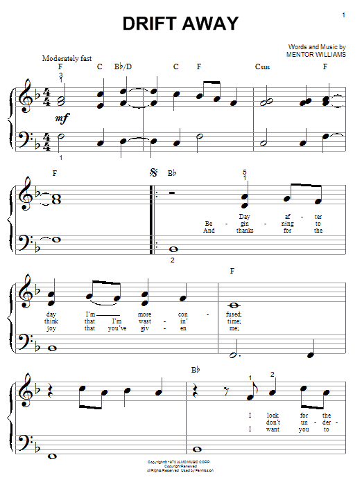 Dobie Gray Drift Away sheet music notes and chords. Download Printable PDF.