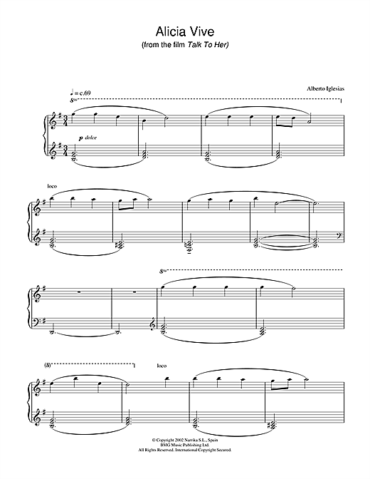 Alberto Iglesias Alicia Vive (from Talk To Her) sheet music notes and chords. Download Printable PDF.