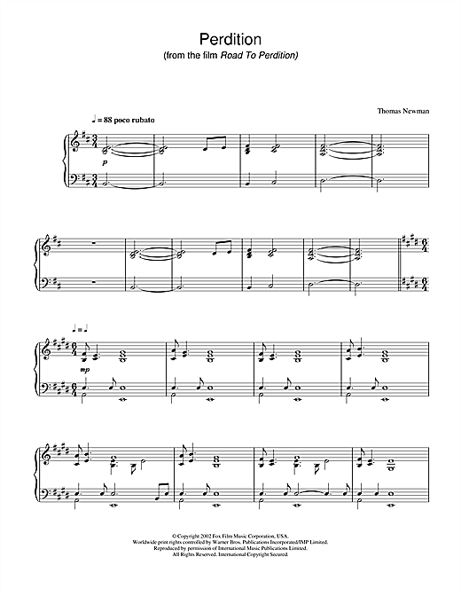 Thomas Newman Perdition (from Road To Perdition) sheet music notes and chords. Download Printable PDF.