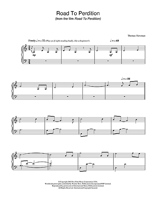 Thomas Newman Road To Perdition sheet music notes and chords. Download Printable PDF.