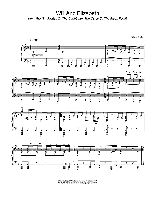 Klaus Badelt Will And Elizabeth (from Pirates Of The Caribbean: The Curse Of The Black Pearl) sheet music notes and chords. Download Printable PDF.