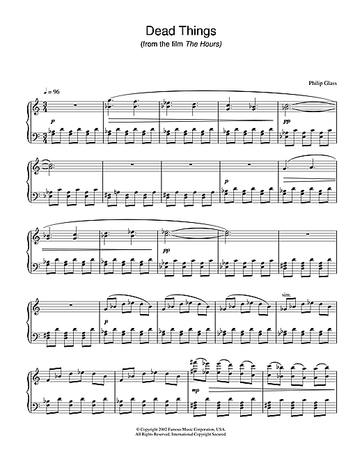 Philip Glass Dead Things (from The Hours) sheet music notes and chords. Download Printable PDF.