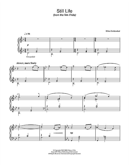 Elliot Goldenthal Still Life (from Frida) sheet music notes and chords. Download Printable PDF.