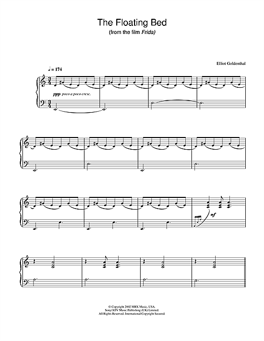 Elliot Goldenthal The Floating Bed (from Frida) sheet music notes and chords. Download Printable PDF.