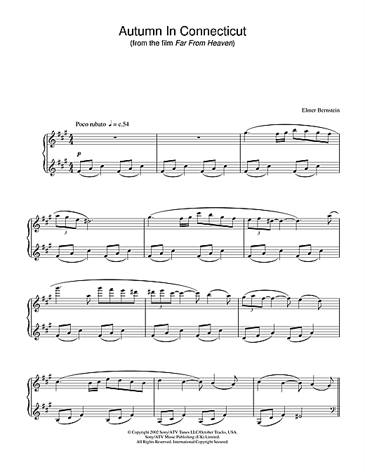 Elmer Bernstein Autumn In Connecticut (from Far From Heaven) sheet music notes and chords. Download Printable PDF.
