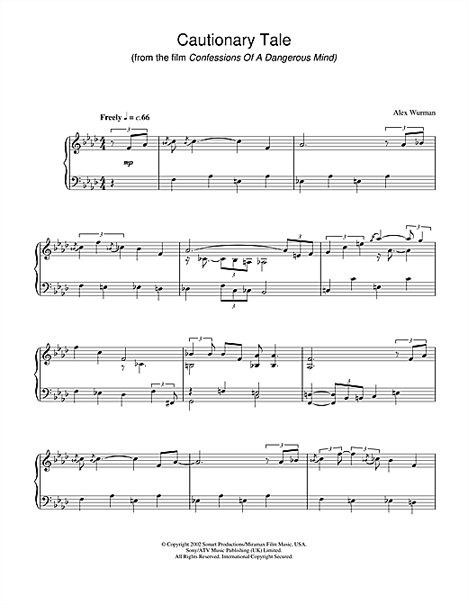 Alex Wurman Cautionary Tale (from Confessions Of A Dangerous Mind) sheet music notes and chords. Download Printable PDF.