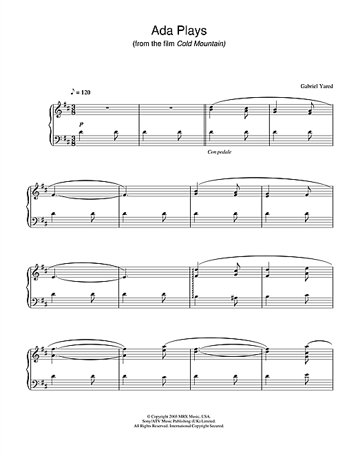 Gabriel Yared Ada Plays (from Cold Mountain) sheet music notes and chords. Download Printable PDF.