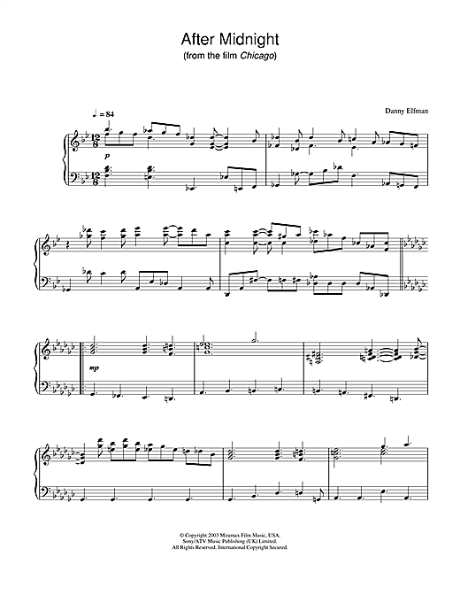 Danny Elfman After Midnight (from Chicago) sheet music notes and chords. Download Printable PDF.