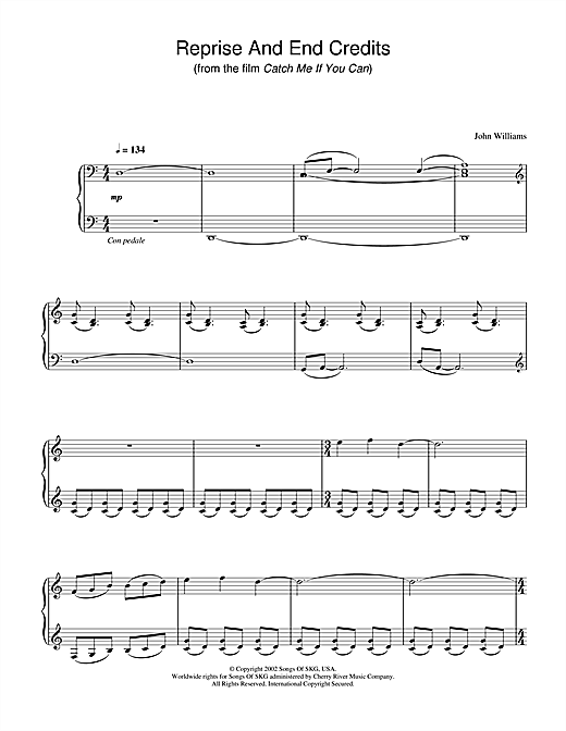 John Williams Reprise And End Credits (from Catch Me If You Can) sheet music notes and chords. Download Printable PDF.