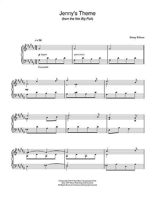 Danny Elfman Jenny's Theme (from Big Fish) sheet music notes and chords. Download Printable PDF.