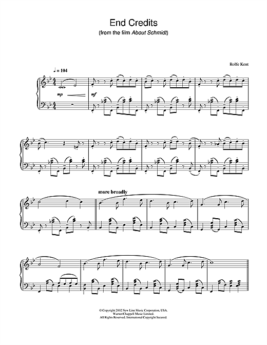 Rolfe Kent End Credits from About Schmidt sheet music notes and chords. Download Printable PDF.
