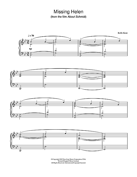 Rolfe Kent Missing Helen (from About Schmidt) sheet music notes and chords. Download Printable PDF.