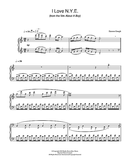 Badly Drawn Boy I Love N.Y.E. (from About A Boy) sheet music notes and chords. Download Printable PDF.