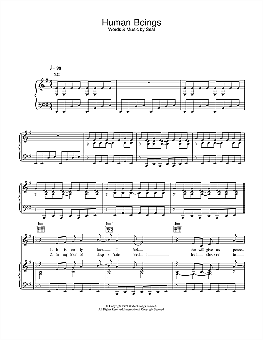 Seal Human Beings sheet music notes and chords. Download Printable PDF.