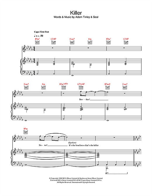 Seal Killer sheet music notes and chords. Download Printable PDF.