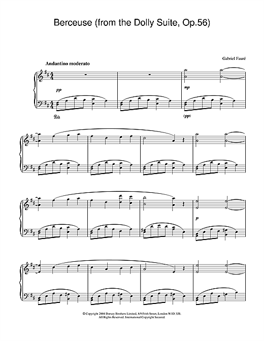 Gabriel Fauré Berceuse (from the Dolly Suite, Op.56) sheet music notes and chords. Download Printable PDF.