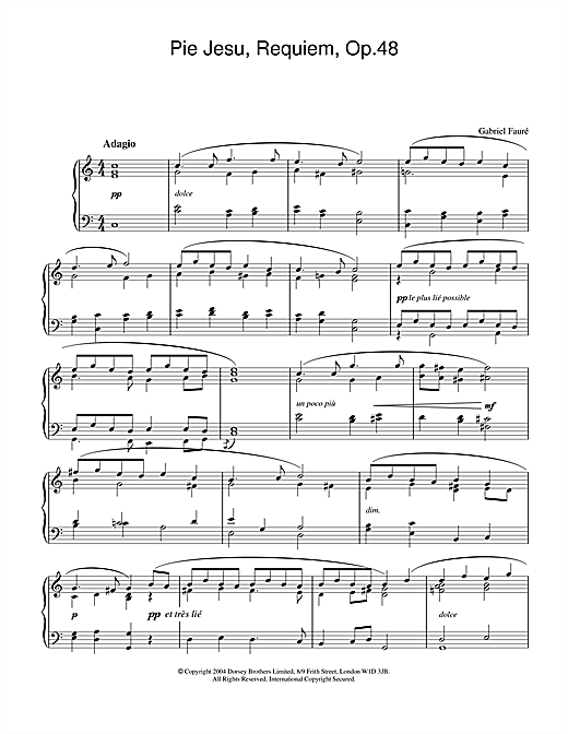 Gabriel Fauré Pie Jesu (from Requiem, Op.48) sheet music notes and chords. Download Printable PDF.