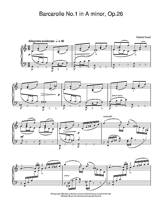 Gabriel Fauré Barcarolle No.1 in A minor, Op.26 sheet music notes and chords. Download Printable PDF.
