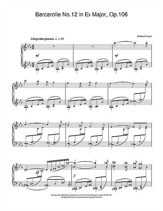 Gabriel Fauré Barcarolle No.12 in E Flat Major, Op.106 sheet music notes and chords. Download Printable PDF.