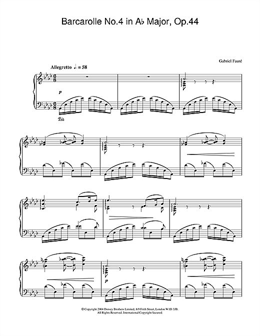 Gabriel Fauré Barcarolle No.4 in A Flat Major, Op.44 sheet music notes and chords. Download Printable PDF.