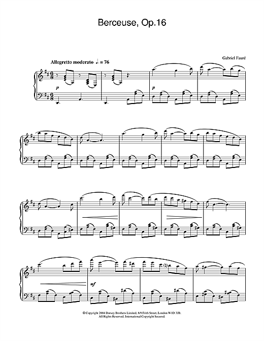 Gabriel Fauré Berceuse, Op.16 sheet music notes and chords. Download Printable PDF.