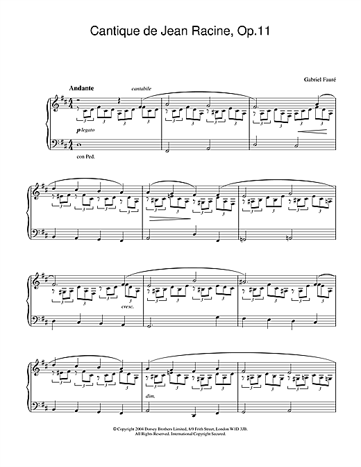 Gabriel Fauré Cantique de Jean Racine, Op.11 sheet music notes and chords. Download Printable PDF.
