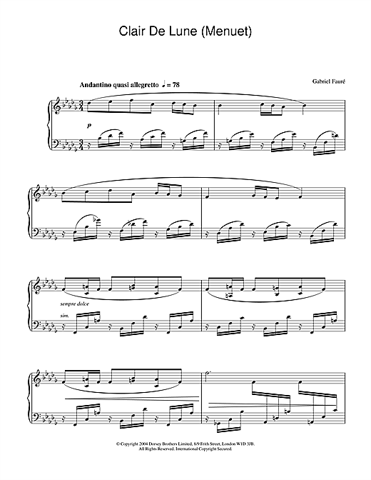 Gabriel Fauré Clair De Lune (Menuet) sheet music notes and chords. Download Printable PDF.