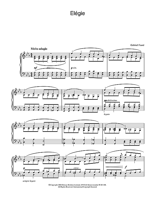 Gabriel Fauré Elégie sheet music notes and chords. Download Printable PDF.