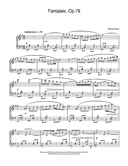 Gabriel Fauré Fantasie, Op.79 sheet music notes and chords. Download Printable PDF.