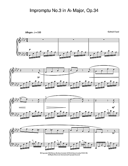 Gabriel Fauré Impromptu No.3 in A Flat Major, Op.34 sheet music notes and chords. Download Printable PDF.
