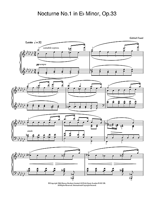 Gabriel Fauré Nocturne No.1 in E Flat Minor, Op.33 sheet music notes and chords. Download Printable PDF.