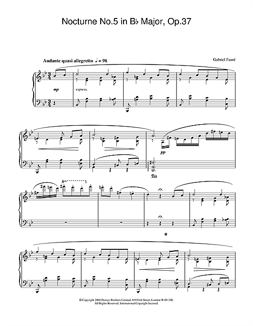 Gabriel Fauré Nocturne No.5 in B Flat Major, Op.37 sheet music notes and chords. Download Printable PDF.
