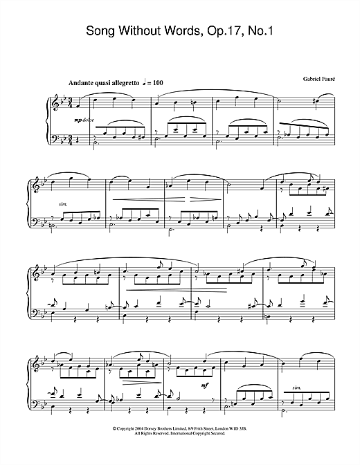Gabriel Fauré Song Without Words, Op.17, No.1 sheet music notes and chords. Download Printable PDF.
