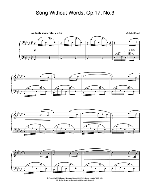 Gabriel Fauré Song Without Words, Op.17, No.3 sheet music notes and chords. Download Printable PDF.