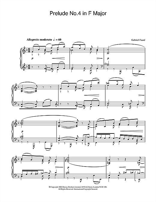 Gabriel Fauré Prelude No.4 in F Major sheet music notes and chords. Download Printable PDF.