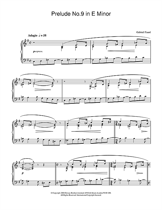 Gabriel Fauré Prelude No.9 In E Minor sheet music notes and chords. Download Printable PDF.